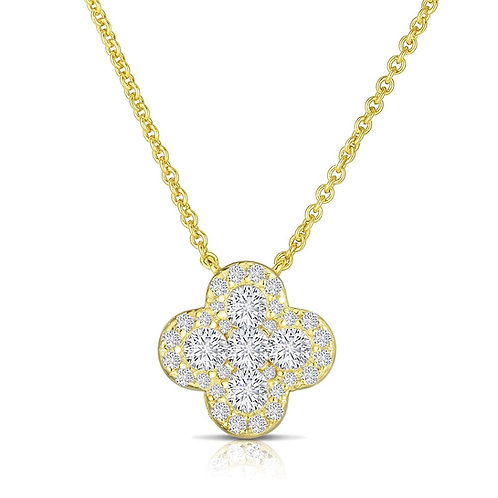 Four Leaf Clover Pendant and Necklace 14K Yellow Gold Plated 925 Sterling Silver