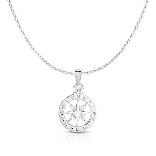 925 Solid Sterling Silver Compass-Rose Necklace
