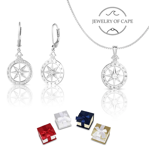 Set of 925 Solid Sterling Silver Compass-Rose Necklace and Earrings