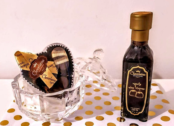 Purim Premium Belgian Chocolate heart with tray and small Lechaim Liquor bottle
