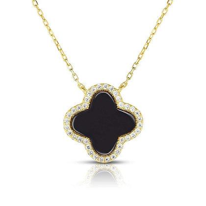14K Gold Necklace Four Leaf Clover Black Pearl