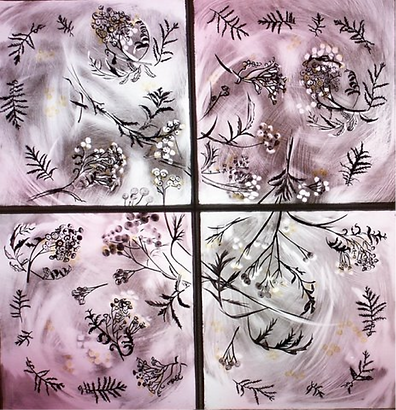 A stained glass design displaying pink Tansy flowers painted to work alongside the William Morris wall paper