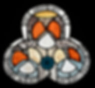 Top section of a stained glass window designed painted and leaded depicting Virgin Mary on site at St James's Church in Yorkshire