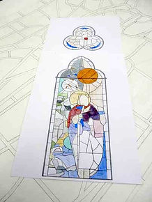 A sketch of a stained glass window for St James Ryhill