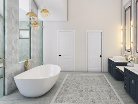 3D Rendering of a Luxury Bathroom
