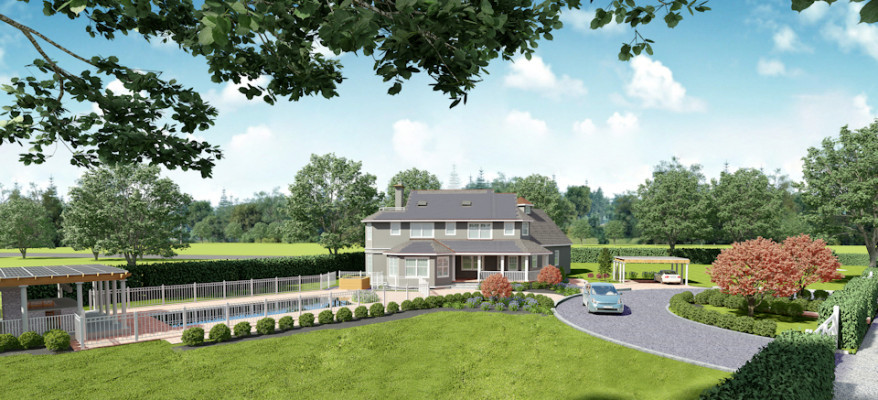 3D Rendering of a Renewable Energy Home