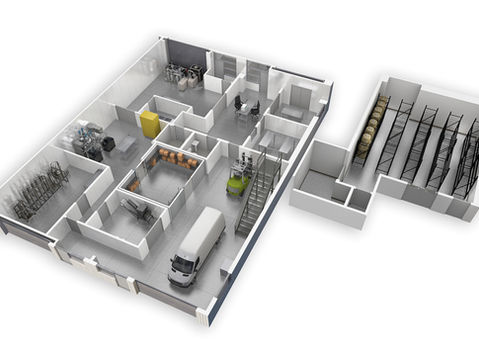 3D Floor Plan of a Commercial Interior