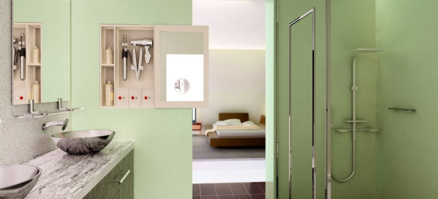 3D Rendering of a Bathroom and Bedroom
