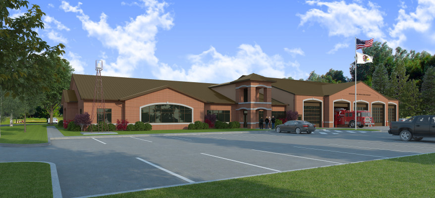 3D Rendering of a Fire Station