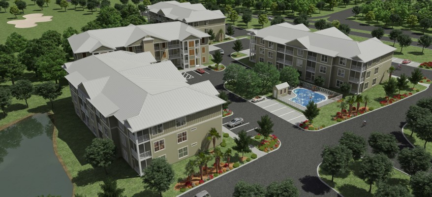 Architectural Rendering of an Apartment Complex