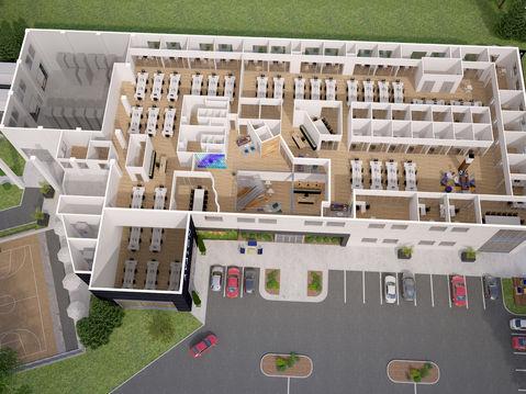 3D Floor Plan of an Office Building