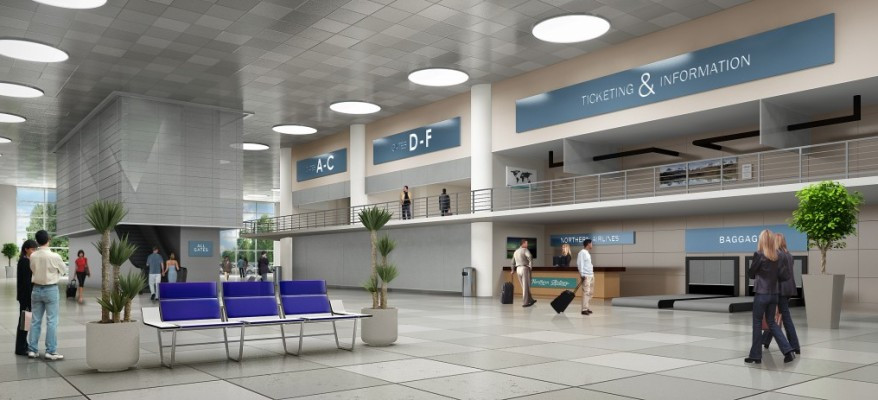 3D Rendering of an Airport Interior