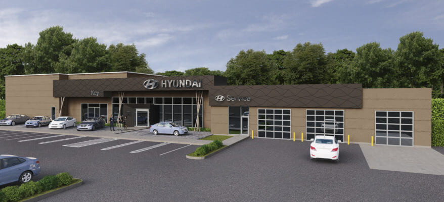 3D Rendering of a Hyundai Dealership