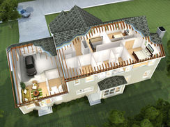 3D Cutaway Rendering of a House