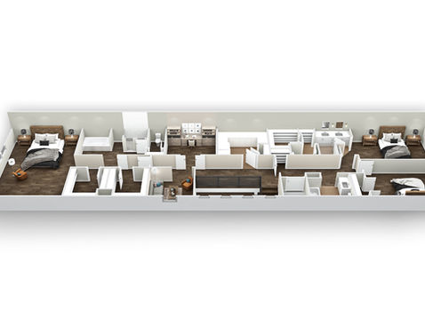 3D Floor Plan of a Lakeside Townhome - Upper