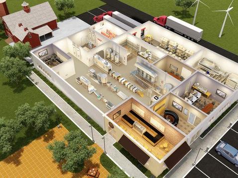3D Floor Plan of a Farm Factory