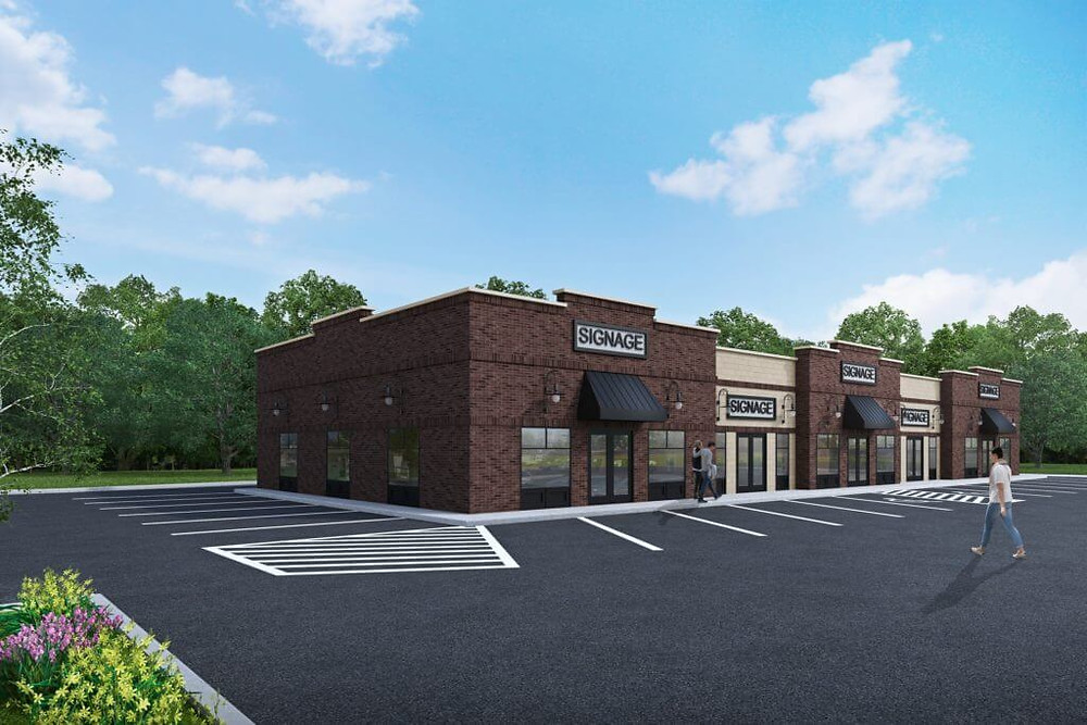 3D Rendering of a Strip Mall