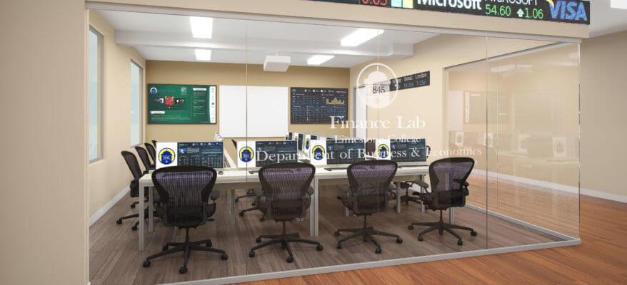 3D Rendering of a University Finance Trading Lab