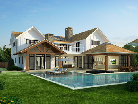 Rear View of Residential Exterior Rendering