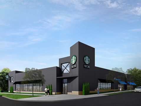 Commercial 3D Rendering of a Starbucks