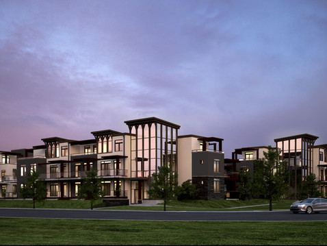 3D Rendering of a Luxury Living Complex at Night