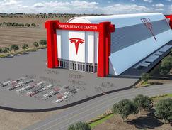 Aerial Rendering of a Tesla Super Center