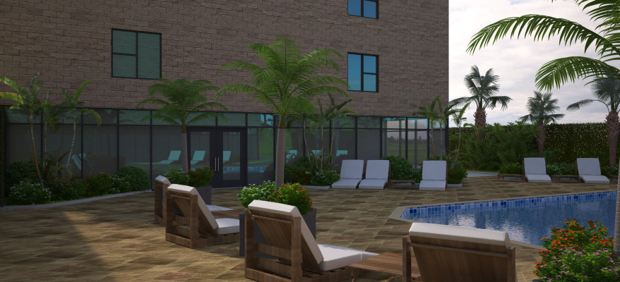 3D Rendering of a Pool Area