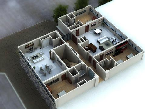 3D Floor Plan of a Residential Interior