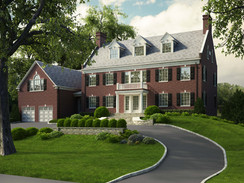3D Rendering of a Large Brick House