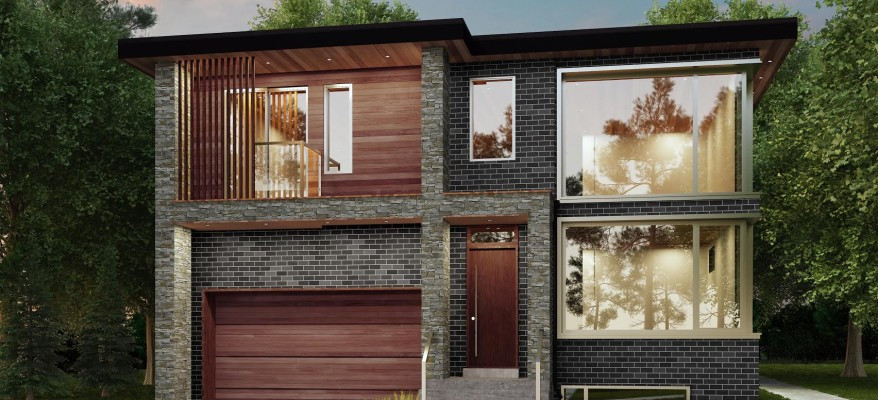 3D Rendering of the Exterior of a Two Story House