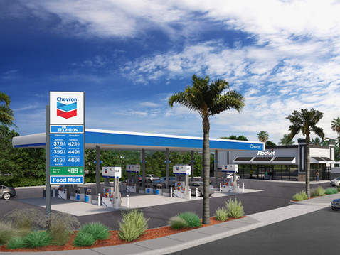 3D Rendering of a Gas Station