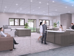 Interior Rendering of an Office Front Desk