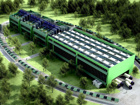 Aerial View 3D Rendering of a Warehouse