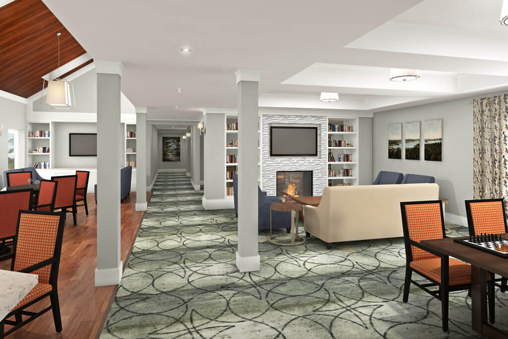 3D Rendering showing the Interior of a Senior Living Community