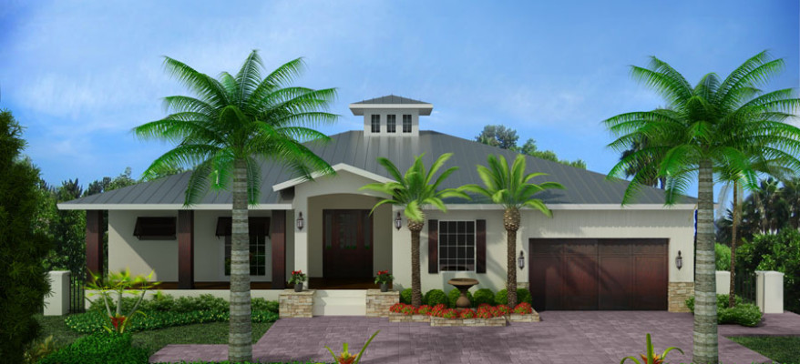3D Rendering of a Tropical Home