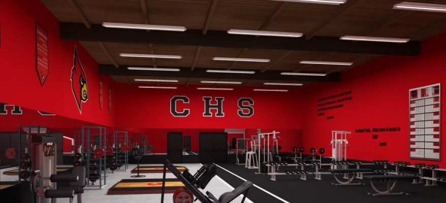 3D Rendering of a High School Gym
