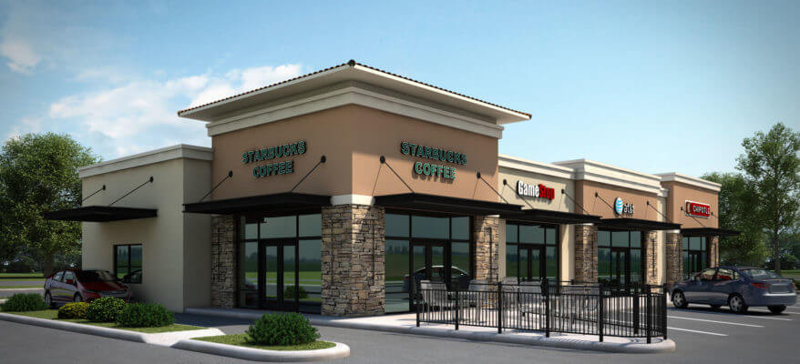 3D Rendering of a Starbucks and Shopping Center