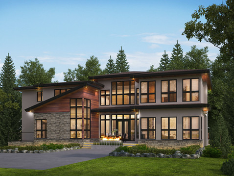 Rendering of a Large Home with Modern Architecture
