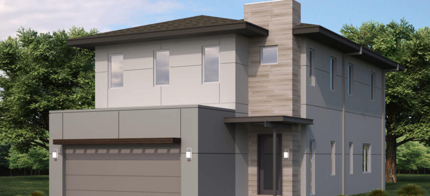 3D Rendering of the Exterior of a Modern Home