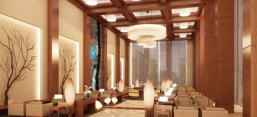 Photorealistic Rendering of a Hotel Lobby