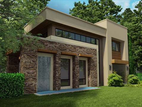 Rendering of a House with Unique Architecture
