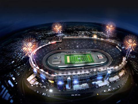 3D Aerial Rendering of a Football Stadium