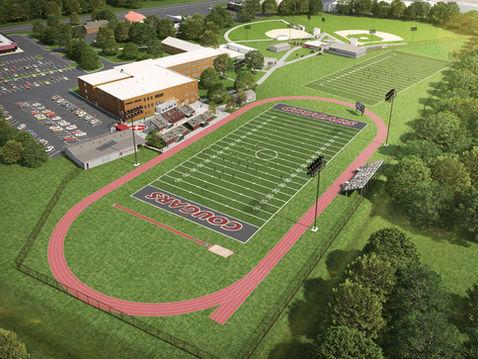 Aerial of a High School Stadium