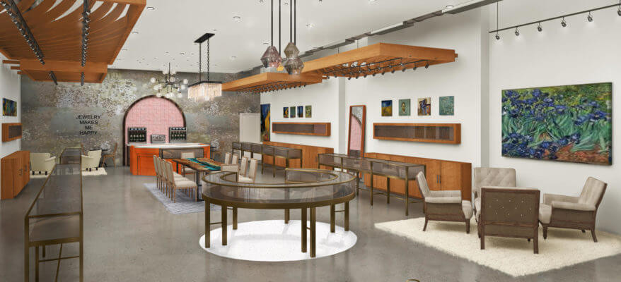 3D Rendering of a Jewelry Store Interior