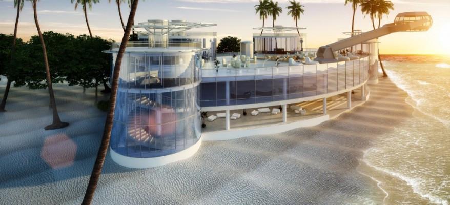 3D Rendering of a Bahamas Glass Beach House