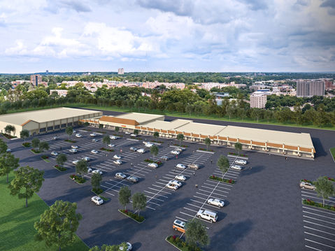 Aerial Rendering of a Shopping Center