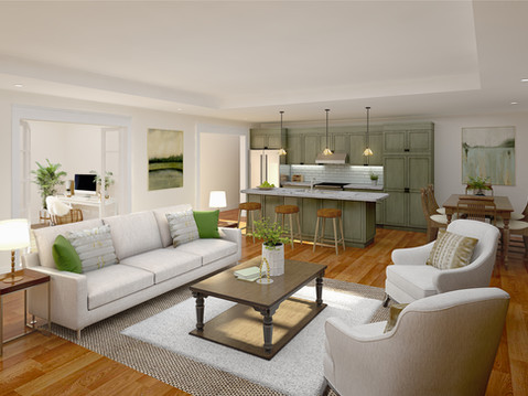 Kitchen and Living Rendering