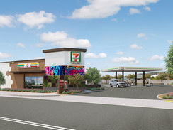3D Rendering of a 7/11 Gas Station