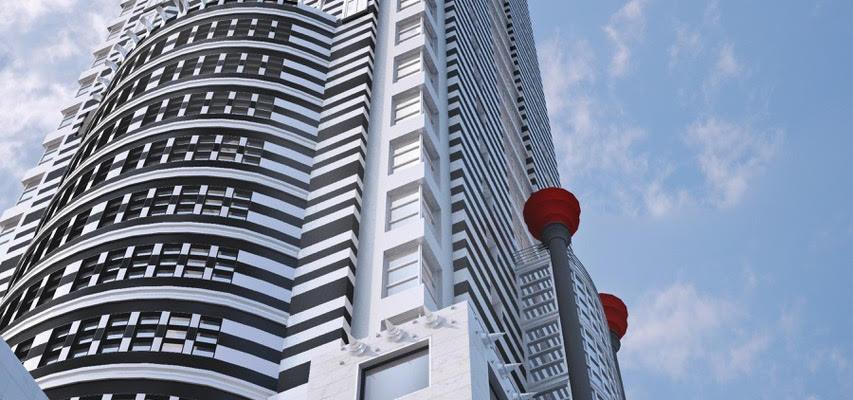 Architectural Rendering of a Futuristic Skyscraper