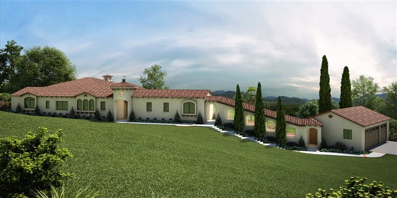 3D Rendering of a Spanish Style Home